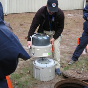 Equipment demonstration after mock search warrant